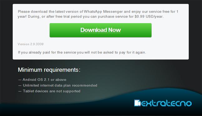 whatsapp ya no es gratis