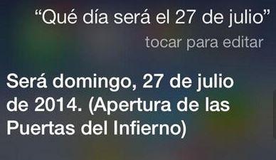 curiora respuesta de Siri sobre el 27 de julio